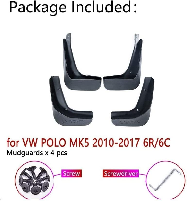 Size : Fit Polo 6C 2015-2017 OutdoorKing Splash Fenders Mud Flaps Mudguard For Volkswagen Polo 6R 6C 2010~2017 Car Mudguards Fender Front Rear Mud Flaps Splash Guards Paneling Mudflaps 4Pcs//Set