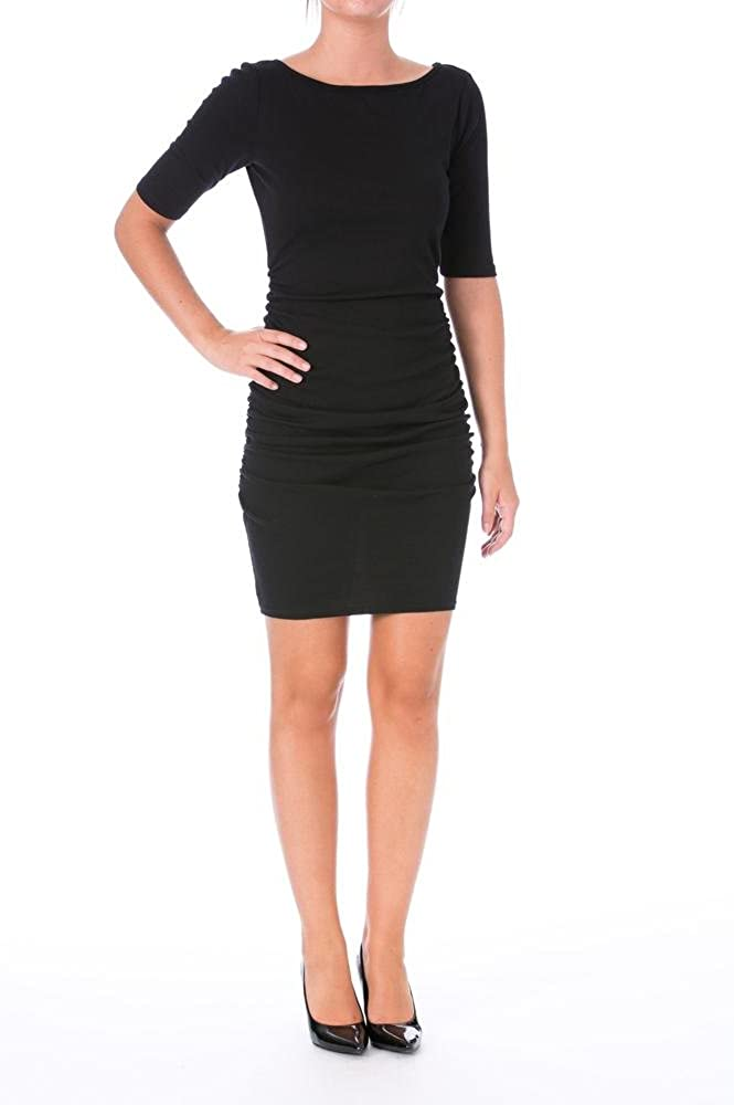 Three Dots Women's Ruched Dress with V-Back
