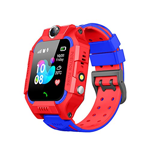 Boutique Waterproof Kids Smart Watch GPS Tracker - Boys Girls for 3-12 Year Old with SOS Camera Alarm Call Camera Alarm 1.44'' Touch Screen SOS Electronic Toy Birthday Gifts (Red)