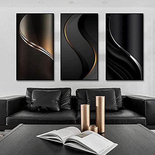 SXXRZA Póster de Arte 3 Piezas 30x60cm Sin Marco Carteles e Impresiones de Arte Abstracto Minimalista Líneas Doradas Imágenes artísticas de Pared para la decoración del hogar de la Sala de Estar