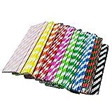 Amorar Pajitas de papel de rayas cálidas, desechables, extralargas, decorativas para fiestas de...