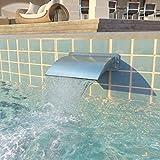 UnfadeMemory Fuente Cascada de Piscina,Decoración para Estanque o Piscina,Resistente Cloro y Agua Salada,Acero Inoxidable,30x9x26cm,Plateado