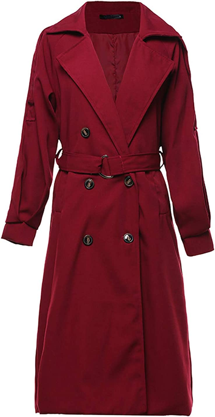 Yeokou Max 42% OFF Women's Causal Double Oakland Mall Breasted Fall Spring Co Long Trench