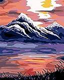 Paint by Numbers Sunset Over The Lake - Kit de pintura acrílica con pinceles y pigmentos para manualidades en lienzo para niños y adultos, 40,6 x 50,8 cm