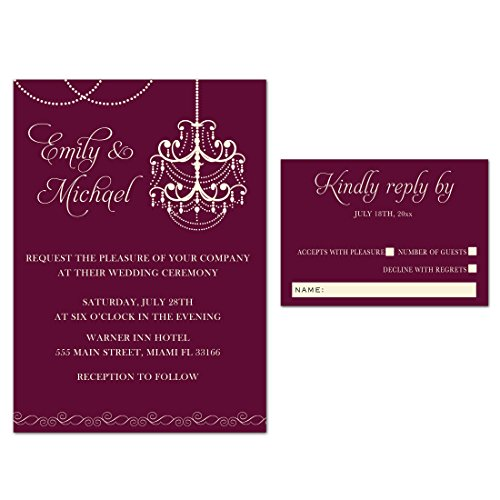 100 Wedding Invitations Gothic Chandelier Burgundy Red Elegant Design + Envelopes + Response Cards Set