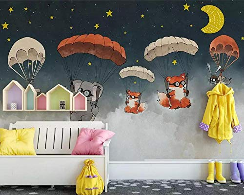 3D behang Nordic Creative Watercolour Animal Parachute Children's Room TV Background behang 3D 200*140 200*140