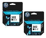 Cartucho de tinta original HP 302 de capacidad estándar, color negro, compatible con buzón. Paquete de 2 unidades.