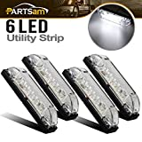 Partsam 4pcs 4Inch Led Utility Strip Light Bar White 6 LED Clear Lens Waterproof 12V Vehicles Decoration...