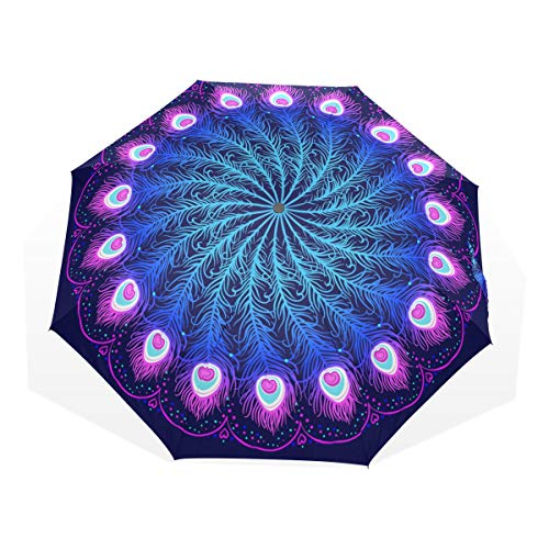 EZIOLY Mandala - Paraguas de Viaje Ligero y antiUV para Hombres, Mujeres y niños, Paraguas Plegable y Resistente al Viento