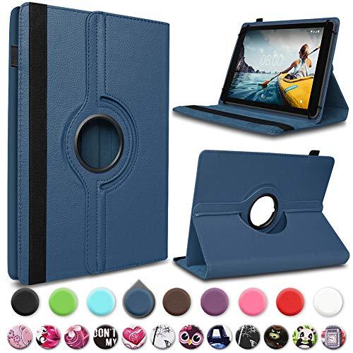 UC-Express Tablet Schutz Hülle Medion Lifetab P10612 P10610 P10603 P9701 P9702 P10606 P10602 X10605 X10607 X10302 P10400 P10506 P10505 Kunstleder Standfunktion 360° Drehbar, Farben:Blau
