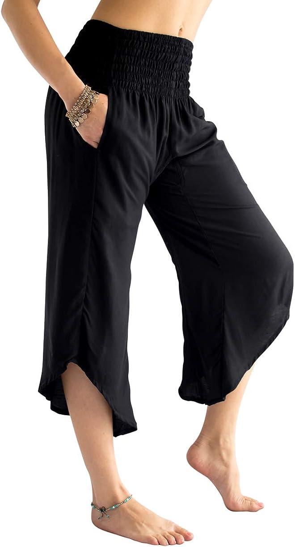 PIYOGA Women's Crop Capris Culottes 通販 即日出荷 w High P and Elastic 2 Waist