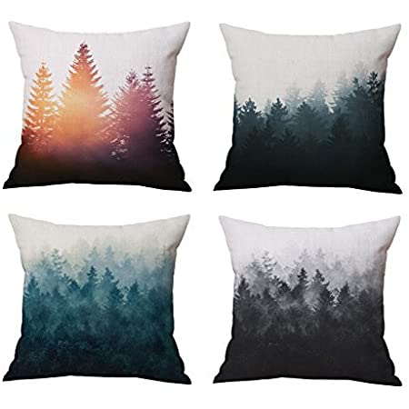 Nydecor Forest Tree Throw Pillow Covers Nature Pillow Case Cotton Linen Rustic Cushion Cover For Sofa Couch 18x18 Set Of 4 Home Kitchen
