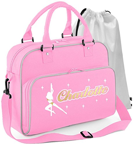 MusicaliTee Pole Fitness Dancing - Spinning Lady - Rosa PINK - Personalisierte Tanztasche & Schuh Tasche Dance Shoe Bags