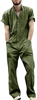 Bbalizko Mens Short Sleeve Romper Jumpsuit Zipper Casual One Piece Tracksuits Coveralls with Pockets