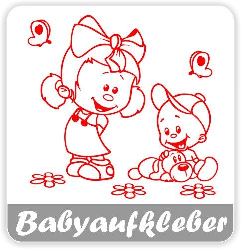Babyaufkleber, Geschwisteraufkleber für Auto mit Wunschtext (GS-17)