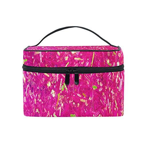 Sac de maquillage rose néon couleur cosmétique sac portable grand sac de toilette pour femmes/filles voyage