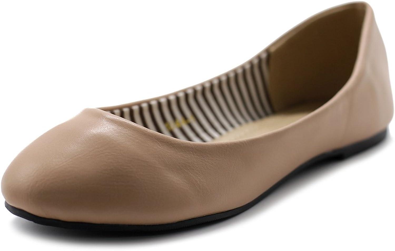 Ollio Women's shoes Ballet Basic Light Comfort Round Toe Flat