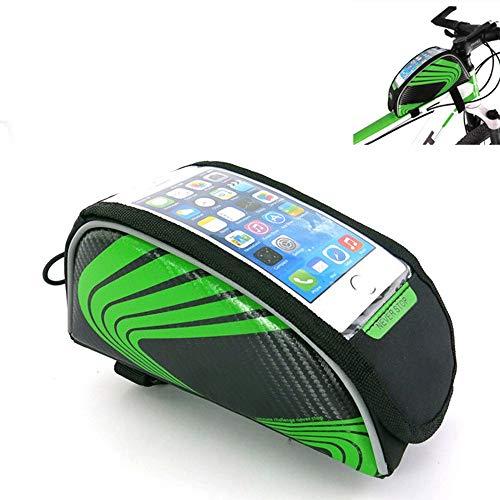 JYCDD Bolsas de Bicicleta Frontal PU Bolsa de Cuadro de Tubo Superior de Bicicleta a Prueba de Lluvia Impermeable Paquete de Doble Cremallera para Teléfono por Debajo de 5.3 Pulgadas,Verde