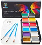 Face Paint Kit – Dermatologically Tested – Non-Toxic & Hypoallergenic – Professional Face Painting Kit for Kids & Adults – Cosplay Makeup Kit – Easy to Apply & Remove – Leakproof Dry Glitters