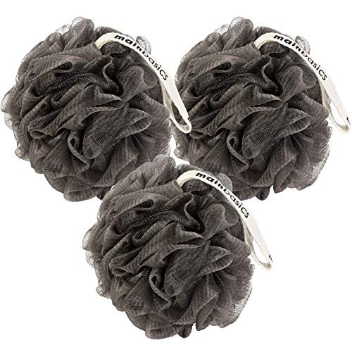 MainBasics Activated Charcoal Bath Shower Loofah Sponge Pouf Body Scrubber Exfoliator Set of 3