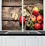Colección Fruits Decor, Caja de Manzanas en Panel de Piso de Madera Óxido Nutrición Orgánica Imagen de Cosecha de Vitaminas, Tratamientos de Ventana para Cortinas de Cocina 2 Paneles, Verde Perú