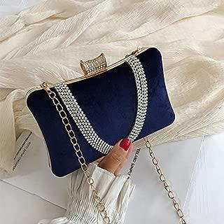NSHUN Velvet Rhinestone Stud One Ring Decor Evening Cocktail Clutch Bag,Square Evening Bag Women Clutch, Dinner Bag Beaded Handbag (Color : Blue)