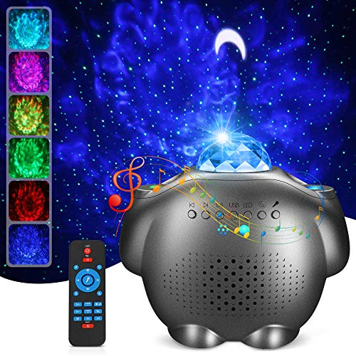 Proyector de Luz Estelar, LED de Luz 4 en 1 Nocturnas Giratorio de Música con de Voz Control Bluetooth y Temporizador Luz de Noche Infantil, Lámpara Proyector Estrellas Luna Niños Navidad Regalo