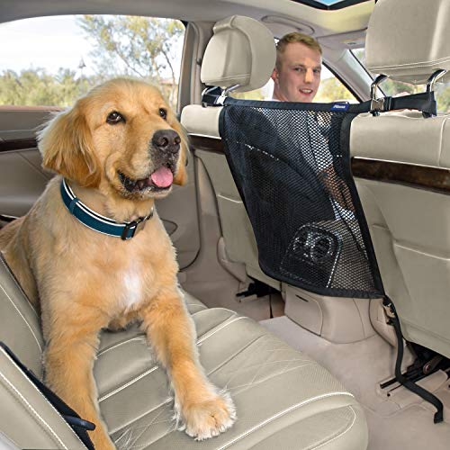 Pikaon Front Seat Barrier, Heavy Duty Car Dog Barrier Vehicle Backseat Mesh Universal Fit