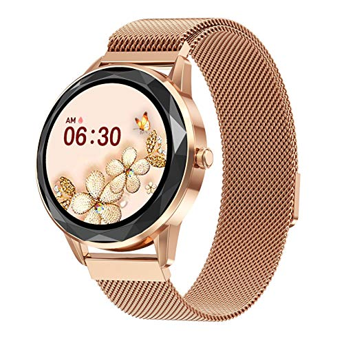 Custom Dial Smart Watch Women 1.09' Full Touch Screen Bluetooth 5.0 Long Standby Time Female Smartwatch Heart Rate Monitor (Color : Gold steel, Size : With original box)