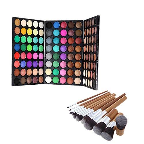 MagiDeal Palette Ombres / Fards à Paupières 120 Couleurs Mattes et Brillantes + 9pcs Brosse Pinceau de Maquillage en Bambou pour Poudre de Fondation Fond de Teint