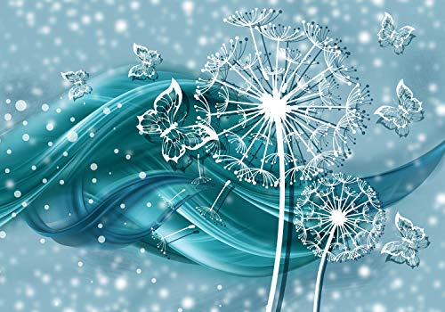 wandmotiv24 Fototapete Pusteblume Ornament türkis L 300 x 210 cm - 6 Teile Fototapeten, Wandbild, Motivtapeten, Vlies-Tapeten Schmetterlinge, Blumen,Welle M1378