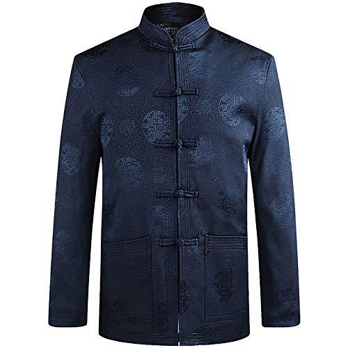 ZooBoo Tang Suit Kung Fu Jacket - Chinese Traditional Tai Chi Qi Gong Martial Arts Cloths Clothing Top (Blue, XL)