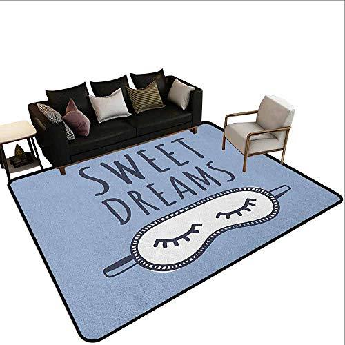 MsShe Superior hal tapijt Sweet Dreams, Meisje Slapen met een konijn en een kat Cartoon Stijl Nacht Tijd Thema Afbeelding, Multi kleuren