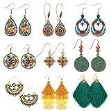 Makone 9 pares pendientes retro Bohemia Vintage pendientes de diamantes de imitación pendientes de borla para mujeres niñas
