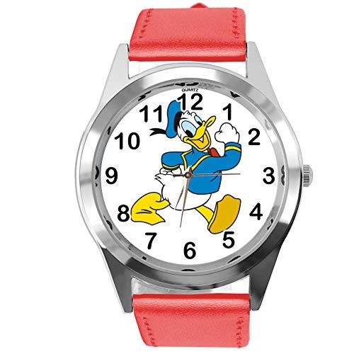 Reloj analógico de cuarzo con correa de piel auténtica de color rojo redondo para el ventilador del pato Donald