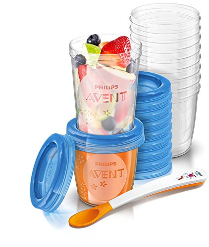 Philips Avent Scf720/10 VIA Baby Food Storage Set (Cups Lids Spoon) Best Quality Original From United Kingdom Fast Shipping by Philips AVENT