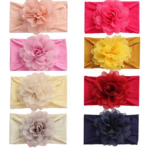 GUIFIER 8 Stück Baby Mädchen Stirnbander mit Blume Baby Haarband Blumen Baby Kopfbänder Knoten Turban Headwrap Nylon Baby Kopfband Stirnband,Verknotete Kopfbänder Haarbänder für Babys Fotozubehör