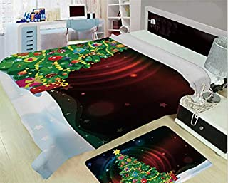 iPrint Heating and Thickening High-Grade Blankets,Christmas,Colorful Funny Decorated Xmas Tree Abstract Backdrop with Stars Presents Cartoon,Multicolor,One Side Printing,Excess Value
