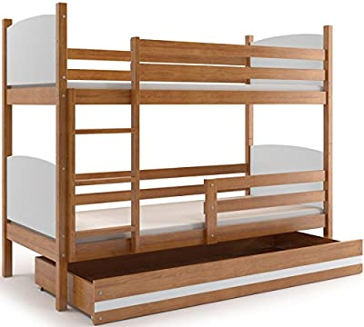 Interbeds Cama Doble - litera Infantil,Tami, 160X80, Color Aliso, los Paneles con Diferentes Colores (colchones,somieres y Cajón Gratis)