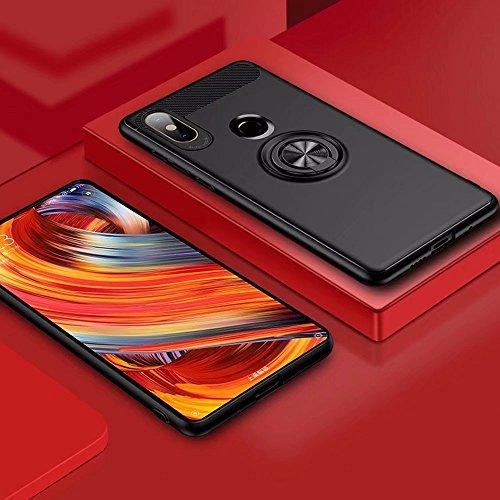 XIFAN Funda Xiaomi Mi Mix 2s con Montaje en Coche, Rugged TPU Funda de Silicona para el Soporte, de 360 ° Rotación Kickstand. Negro-Negro