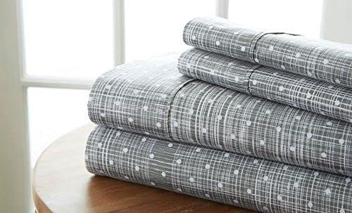 Simply Soft 4 Translated Piece Sheet Genuine Free Shipping Patterned Gray King Polkadot Set