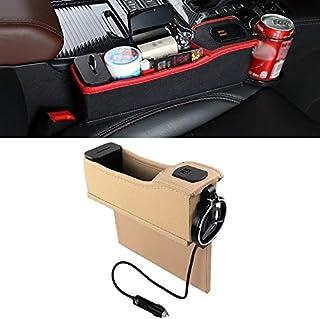 LENASH متعدد الوظائف للسيارة والطيار - USB المزدوج - شحن - شبكة كهربائية - حامل مربع - أسود - (اللون: بيج)