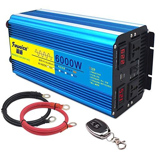QTCD Inversor de energía de Onda sinusoidal Pura de 3000 W Convertidor de 6000 W Pico CC 12 V / 24 V a CA 230 V / 240 V con Control Remoto inalámbrico y Salidas de CA Dobles y USB, 24 V