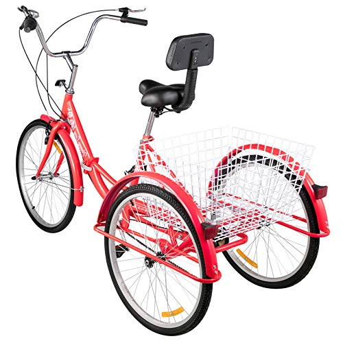 Happybuy Foldable Tricycle 24'' Wheels, 1-Speed Red Trike, 3 Wheels Colorful Bike with Basket, Portable and Foldable Bicycle for Adults Exercise Shopping Picnic Outdoor Activities