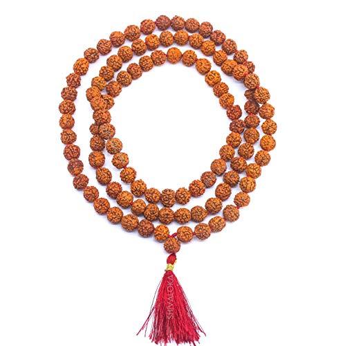 SHIVALOKA Rudraksha Mala Lab certificado para uso regular y japa (canto mantras)   Tamaño 7,50 mm, 108+1 cuentas   Una mala de oración marrón Rudraksha   para hombres y mujeres  