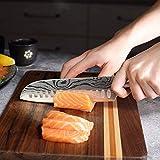 Joyspot Japanisches Santoku Messer, 7 inch Kochmesser Profi Messer Deutsche Karbon-Edelstahlmesser Extra Scharfe Messerklinge mit Ergonomischer Griff, Beste für Home Kitchen … - 8