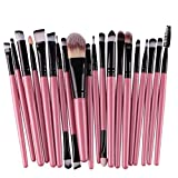 KOLIGHT Juego de 20 brochas de maquillaje para base de ojos, delineador de ojos, delineador de labios, color negro y rosa