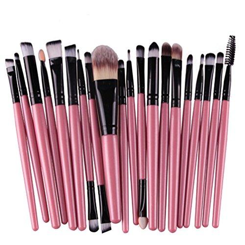 Kolight – Lot de 20 pinceaux de maquillage professionnels pour poudre, fond de teint, fard à paupières, eyeliner, lèvres (noir + rose)