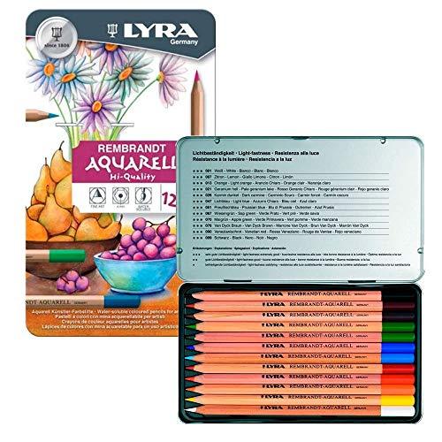 Lyra Rembrandt Aquarell Pencils, Tin of 12