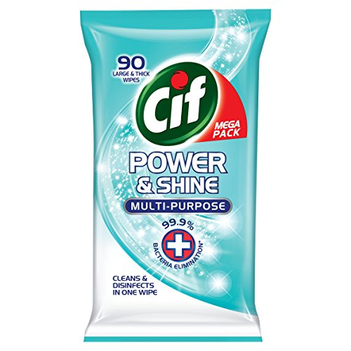 Cif Power & Shine Antibacterial Eliminate 99.9% of Bacteria* Cleaning Wipes Multi-purpose Wipes for A Beautifully Clean Home (4 x 90 Wipes)